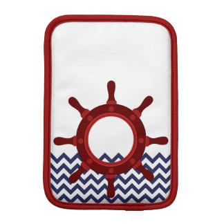 Nautical Ship Wheel on Chevron Waves Sleeve For iPad Mini