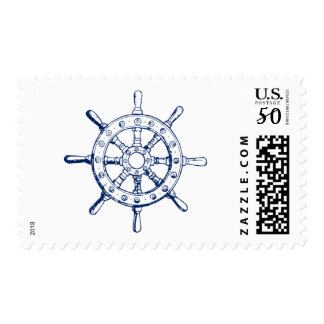 Nautical Ship Wheel Postage Stamps - Navy Blue