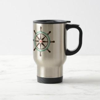 Nautical Ship Wheel with Pink Heart Travel Mug