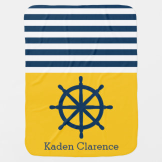 Nautical Ship Wheel with Yellow and Navy Stripes Receiving Blanket