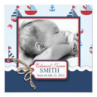Nautical Ships Ahoy! Birth Announcement SQ