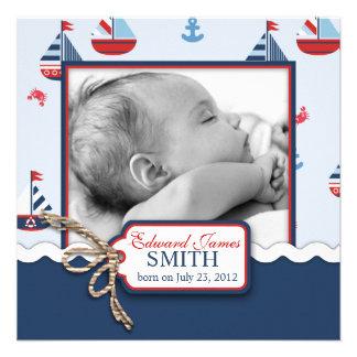 Nautical Ships Ahoy Birth Announcement SQ