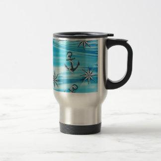 Nautical Ships Anchor Compass Sailing Theme Travel Mug