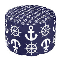 Nautical Ship's Anchors and Wheels Pattern Pouf