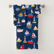 Nautical Ships and Boats Ocean Vehicles Pattern Bath Towel Set