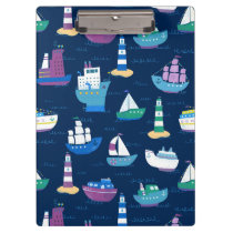 Nautical Ships and Boats Ocean Vehicles Pattern Clipboard