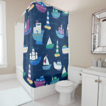 Nautical Ships and Boats Ocean Vehicles Pattern Shower Curtain