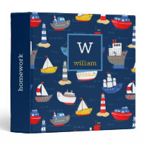 Nautical Ships Boats Ocean Vehicles Personalized 3 Ring Binder
