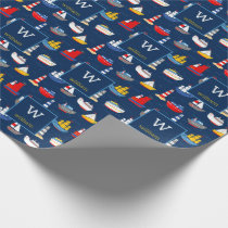 Nautical Ships Boats Ocean Vehicles Personalized Wrapping Paper