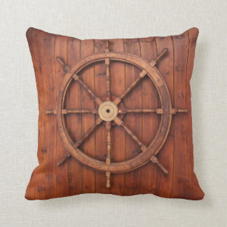 Nautical Ships Helm Wheel on Wood Throw Pillow