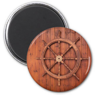 Nautical Ships Helm Wheel on Wooden Wall 2 Inch Round Magnet