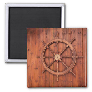 Nautical Ships Helm Wheel on Wooden Wall 2 Inch Square Magnet