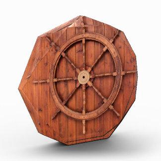 Nautical Ships Helm Wheel on Wooden Wall Award