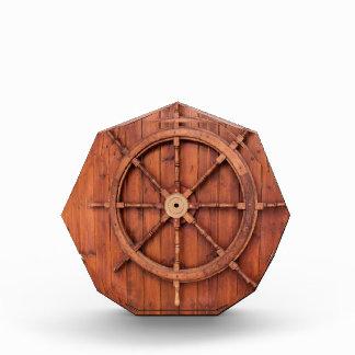 Nautical Ships Helm Wheel on Wooden Wall Acrylic Award