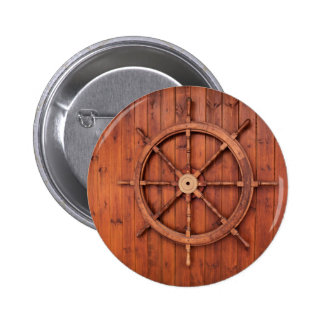 Nautical Ships Helm Wheel on Wooden Wall 2 Inch Round Button