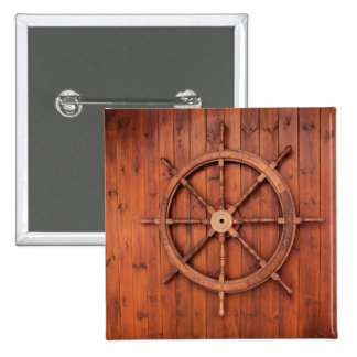 Nautical Ships Helm Wheel on Wooden Wall 2 Inch Square Button