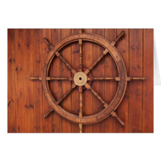 Nautical Ships Helm Wheel on Wooden Wall Greeting Card