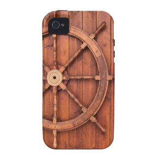 Nautical Ships Helm Wheel on Wooden Wall iPhone 4/4S Covers