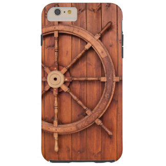 Nautical Ships Helm Wheel on Wooden Wall Tough iPhone 6 Plus Case