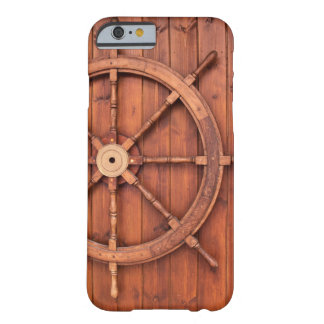 Nautical Ships Helm Wheel on Wooden Wall Barely There iPhone 6 Case