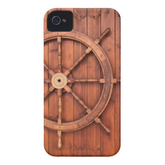 Nautical Ships Helm Wheel on Wooden Wall iPhone 4 Case-Mate Cases