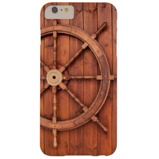 Nautical Ships Helm Wheel on Wooden Wall Barely There iPhone 6 Plus Case