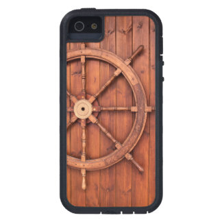 Nautical Ships Helm Wheel on Wooden Wall iPhone 5 Covers