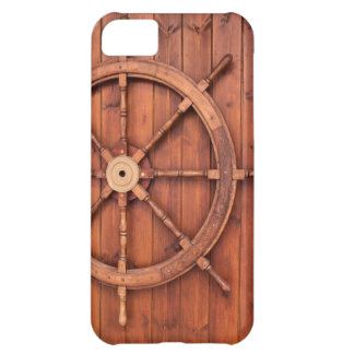 Nautical Ships Helm Wheel on Wooden Wall iPhone 5C Cases
