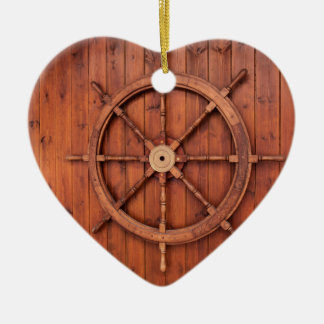Nautical Ships Helm Wheel on Wooden Wall Ceramic Ornament