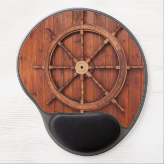 Nautical Ships Helm Wheel on Wooden Wall Gel Mouse Pad