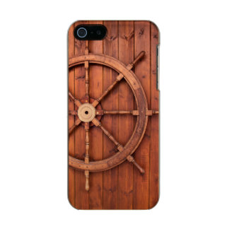 Nautical Ships Helm Wheel on Wooden Wall Incipio Feather® Shine iPhone 5 Case
