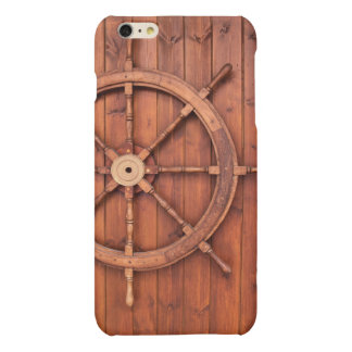 Nautical Ships Helm Wheel on Wooden Wall Matte iPhone 6 Plus Case