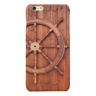 Nautical Ships Helm Wheel on Wooden Wall Glossy iPhone 6 Plus Case