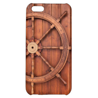 Nautical Ships Helm Wheel on Wooden Wall iPhone 5C Covers