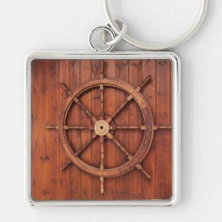 Nautical Ships Helm Wheel on Wooden Wall Keychain