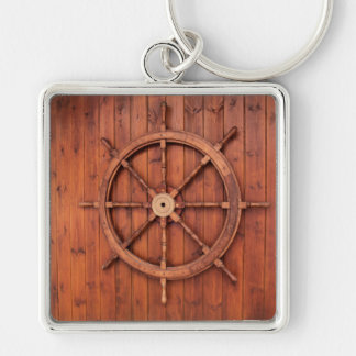 Nautical Ships Helm Wheel on Wooden Wall Silver-Colored Square Keychain