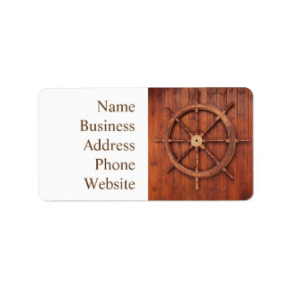 Nautical Ships Helm Wheel on Wooden Wall Address Label