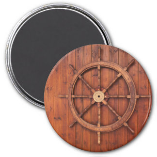 Nautical Ships Helm Wheel on Wooden Wall Magnet