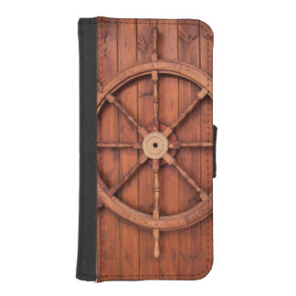 Nautical Ships Helm Wheel on Wooden Wall Phone Wallet Cases