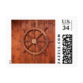 Nautical Ships Helm Wheel on Wooden Wall Postage