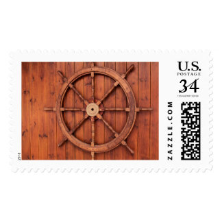 Nautical Ships Helm Wheel on Wooden Wall Postage Stamp
