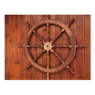 Nautical Ships Helm Wheel on Wooden Wall Postcard