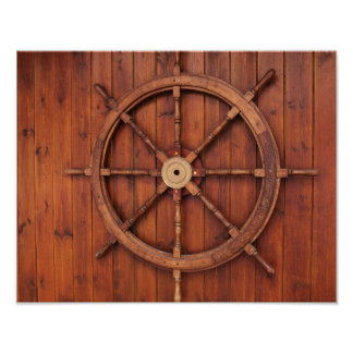 Nautical Ships Helm Wheel on Wooden Wall Poster