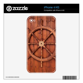 Nautical Ships Helm Wheel on Wooden Wall Decals For The iPhone 4