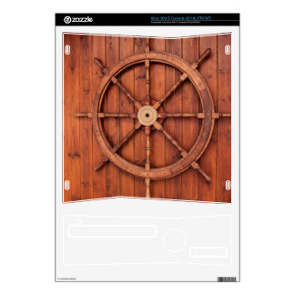 Nautical Ships Helm Wheel on Wooden Wall Skin For Xbox 360 S