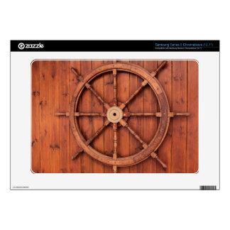 Nautical Ships Helm Wheel on Wooden Wall Samsung Chromebook Skin