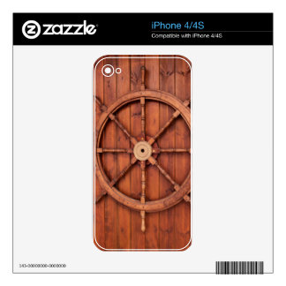 Nautical Ships Helm Wheel on Wooden Wall Skin For iPhone 4S