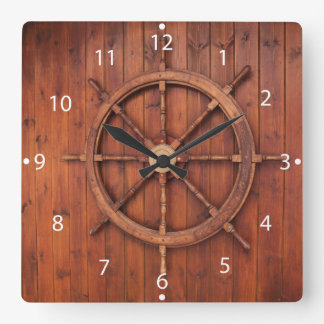 Nautical Ships Helm Wheel on Wooden Wall Square Wall Clock