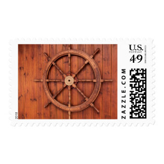 Nautical Ships Helm Wheel on Wooden Wall Stamp