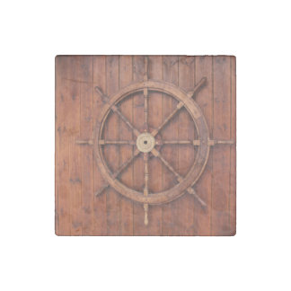 Nautical Ships Helm Wheel on Wooden Wall Stone Magnet